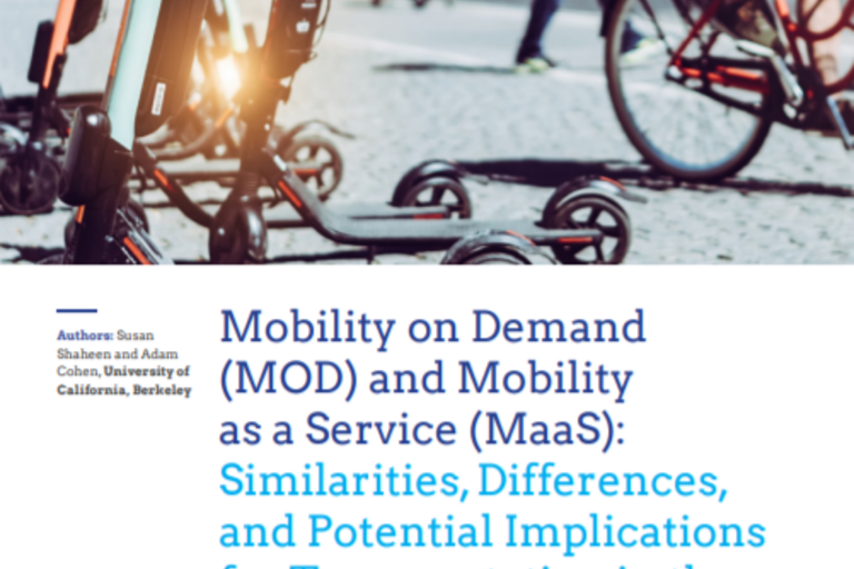 Screenshot of the report title with an image of of scooters and people riding bicycles on the top half and the author names and report titles on the bottom half