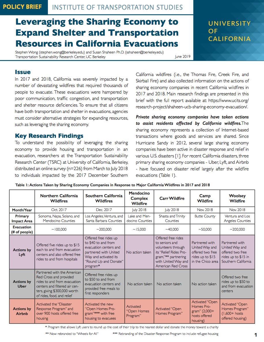 policy brief on evacuations