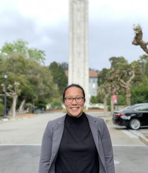 Photo of Alexandra in front of the Campanile Tower